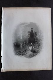 Fisher (Pub) 1844 Antique Print. The Hindoo Mother, India